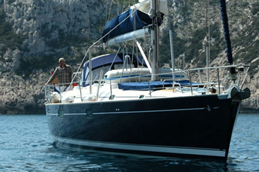 Luxury charter sailboat at anchor in Croatia